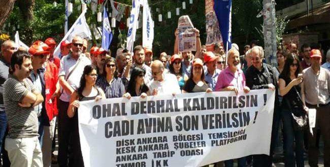 """DİSK, KESK, TMMOB, TTB: """"NE DARBE NE OHAL DEMOKRASİ DERHAL"""""""
